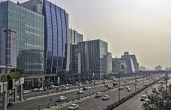 Architecture of Cyber City or Cyberhub in Gurgaon, New Delhi, India. Architecture of Cyber City or Cyberhub in Gurgaon /Gurugram/, New Delhi, India royalty free stock images