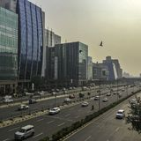 Architecture of Cyber City / Cyberhub in Gurgaon, New Delhi, India. Architecture of Cyber City / Cyberhub in Gurgaon / Gurugram, New Delhi, India stock photo