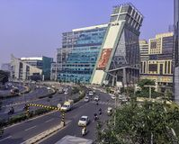 Architecture of Cyber City or Cyberhub in Gurgaon, New Delhi, India. Architecture of Cyber City or Cyberhub in Gurgaon /Gurugram/, New Delhi, India royalty free stock photo