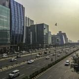 Architecture of Cyber City or Cyberhub in Gurgaon, New Delhi, India. Architecture of Cyber City or Cyberhub in Gurgaon /Gurugram/, New Delhi, India stock photo