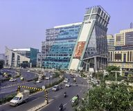 Architecture of Cyber City or Cyberhub in Gurgaon, New Delhi, India. Architecture of Cyber City or Cyberhub in Gurgaon /Gurugram/, New Delhi, India royalty free stock image
