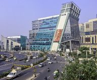 Architecture of Cyber City / Cyberhub in Gurgaon, New Delhi, India royalty free stock photo