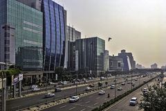 Architecture of Cyber City / Cyberhub in Gurgaon, New Delhi, India. Architecture of Cyber City / Cyberhub in Gurgaon / Gurugram, New Delhi, India stock image