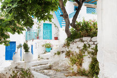 Architecture on the Cyclades. Greek Island buildings with her ty Royalty Free Stock Images