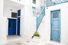 Architecture on the Cyclades. Greek Island buildings with her ty Stock Photography