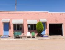 Architecture d'Espagnol de Route 66 Le Nouveau Mexique, Etats-Unis Photo stock