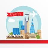 Architecture d'horizon de Riyadh, illustration de vecteur avec l'avion, voitures et ballon à air, conception plate Photo libre de droits
