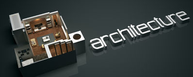 Architecture 3D Text with Floor Plan Design Royalty Free Stock Photography