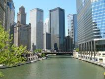 Architecture de fleuve de Chicago Photos libres de droits