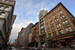 Architecture de fonte sur Broadway, Manhattan, NYC Photos stock