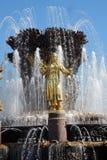 Architecture de parc de VDNKH à Moscou Fontaine d'amitié de personnes Photos stock