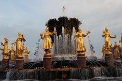 Architecture de parc de ville de VDNKh à Moscou Amitié de fontaine des peuples Photographie stock libre de droits