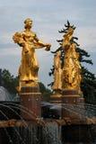 Architecture de parc de ville de VDNKh à Moscou Amitié de fontaine des peuples Photo libre de droits
