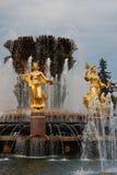 Architecture de parc de ville de VDNKh à Moscou Amitié de fontaine des peuples Photographie stock