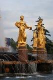 Architecture de parc de ville de VDNKh à Moscou Amitié de fontaine des peuples Photos libres de droits