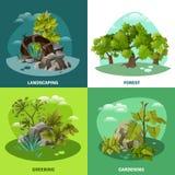 Architecture de paysage concept plat de 4 icônes Photo stock