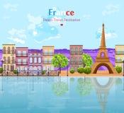 Architecture de paysage de Paris du vecteur de ville Vue célèbre d'attractions d'Eiffel de visite illustration libre de droits
