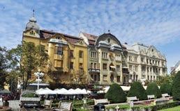 Architecture de place de révolution de Timisoara Photo stock