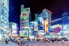 Architecture de secteur d'achats de Ximen la nuit Images libres de droits
