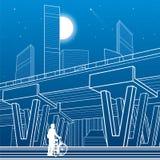 Architecture de ville et illustration d'infrastructure, passage supérieur des véhicules à moteur, grand pont, scène urbaine Ville illustration libre de droits