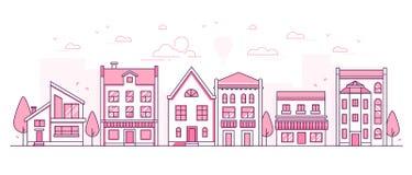 Architecture de ville - ligne mince moderne illustration de vecteur de style de conception illustration libre de droits