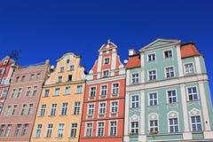 Architecture de Wroclaw, Pologne, l'Europe Centre de la ville, appartements colorés et historiques de place du marché Abaissez la Photo stock