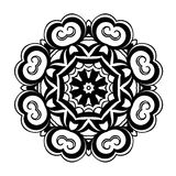 Creative ornament design. Black and white mandala. Hand drawn element. Anti-stress coloring page for adults. In architecture and decorative art, ornament is a Stock Image