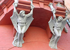 Architecture demon with wings on wall of house in Kiev. Ukraine Stock Photo