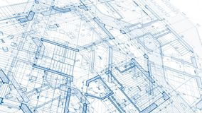Architecture design: blueprint plan stock video footage