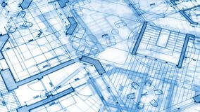 Architecture design: blueprint plan. A plan modern residential building / technology, industry, business concept illustration: real estate, building stock video