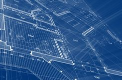 Architecture design: blueprint plan - illustration of a plan mod stock illustration