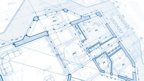 Architecture design: blueprint plan - illustration of a plan mod stock photo