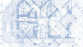 Architecture design: blueprint plan. Illustration of a plan modern residential building / technology, industry, business concept illustration: real estate stock video footage
