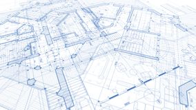 Architecture design: blueprint plan - illustration of a plan mod royalty free stock photo