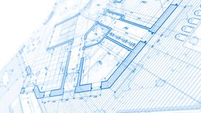 Architecture design: blueprint plan. Illustration of a plan modern residential building / technology, industry, business concept illustration: real estate stock footage
