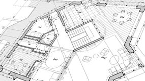 Architecture design: blueprint plan - vector illustration. Of a plan modern residential building / technology, industry, business concept illustration: real Stock Illustration