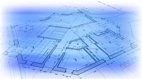 Architecture design: blueprint plan - vector illustration of a p. Lan modern residential building / technology, industry, business concept illustration: real Royalty Free Illustration