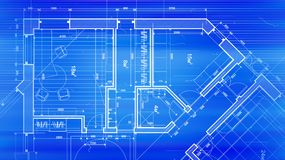 Architecture design: blueprint plan - vector illustration of a p. Lan modern residential building / technology, industry, business concept illustration: real Stock Illustration