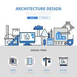 Architecture design concept flat line art vector icons stock illustration