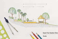 Architecture design Deck pool section elevation Stock Images