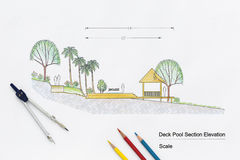 Architecture design Deck pool section elevation Stock Photos