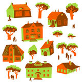 Architecture design elements. Set of cute buildings. Doodle houses with trees and people silhouettes. vector illustration