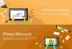 Architecture Designer Workplace Desk Big Digital Stock Photos
