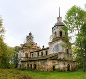 Architecture of the destroyed Orthodox Church of St. George the Victorious in the forests of the Kostroma region.  Royalty Free Stock Image