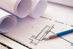 Architecture detail. Close-up shot of architecture plans and  lead-holder Royalty Free Stock Image
