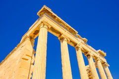 Architecture detail of ancient sandstone temple pillars Royalty Free Stock Image