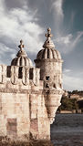 Architecture detail of Belem Tower, toned image Stock Photography