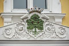Architecture detail - blazon. Blazon on the wall of the old buildung in Ekenas, Finland Royalty Free Stock Photo