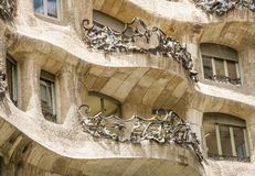 Architecture detail of Casa Mila, better known as Stock Photos