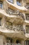 Architecture detail of Casa Mila, better known as La Pedrera, in Stock Photography